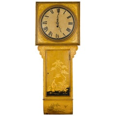 English Regency Period 1820s Golden Toned Wall Clock with Chinoiserie Décor