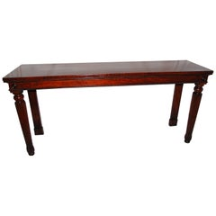 English Regency Period Long Mahogany Sideboard or Hall Table Reeded Legs