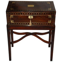 English Regency Period Brass Inlaid Rosewood Writing Box on Bespoke Stand