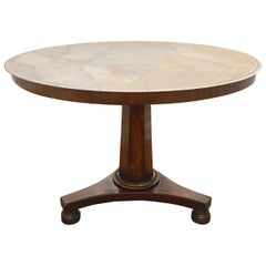 English Regency Period Faux Painted Marble-Top Center Table