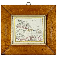 English Regency Period Framed Watercolor, Map of the West Indies & Caribbean Sea