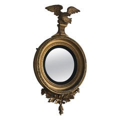 English Regency Period Giltwood Convex Wall Mirror with Eagle Crest