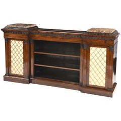 English Regency Period Low Rosewood Bookcase with Marble Tablets, circa 1810