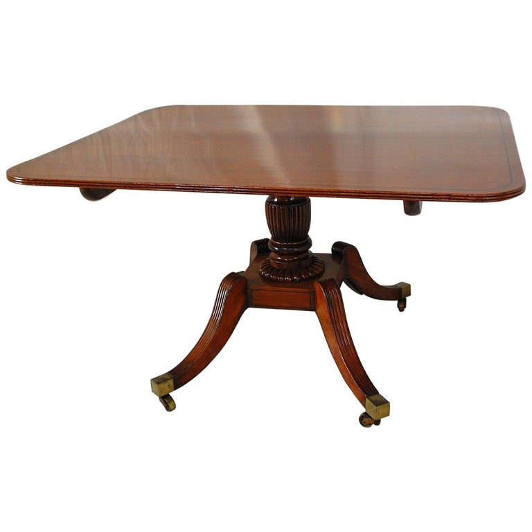 English Regency Period Mahogany Single Pedestal Dining or Breakfast Table For Sale