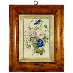 English Regency Period Original Watercolor Fruitwood Frame Primrose Cabbage Rose