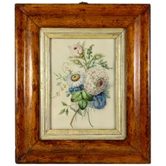 English Regency Period Original Watercolor in Fruitwood Frame, Daisy and Dahila