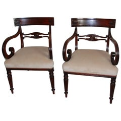 English Regency Period Pair of Mahogany Armchairs, Scroll Arms, Reeded Legs