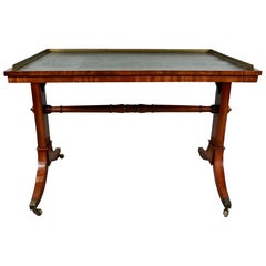 English Regency Period Writing Table with Brass Gallery and Tooled Leather Top