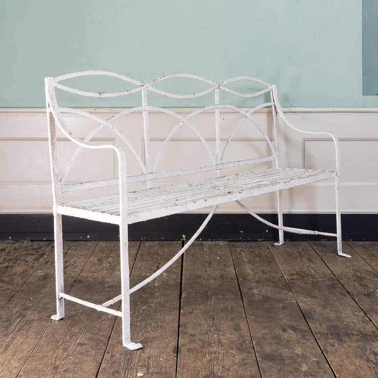 English Regency Period Wrought Iron Bench In Fair Condition For Sale In London, GB