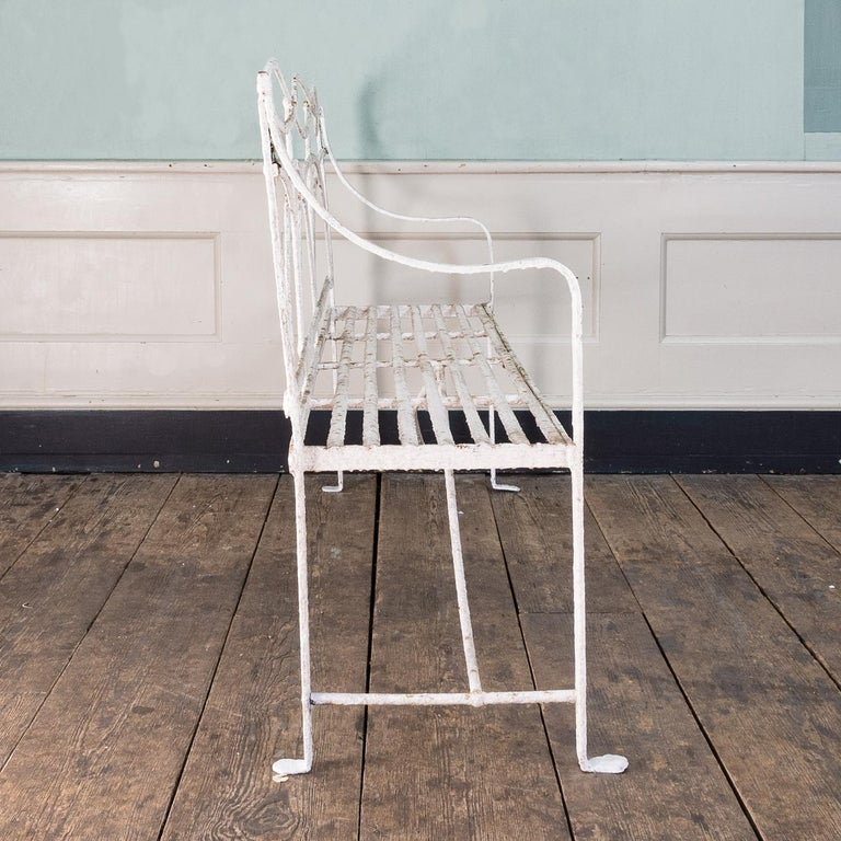 19th Century English Regency Period Wrought Iron Bench For Sale