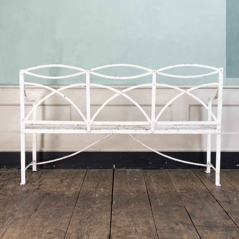 English Regency Period Wrought Iron Bench For Sale 1