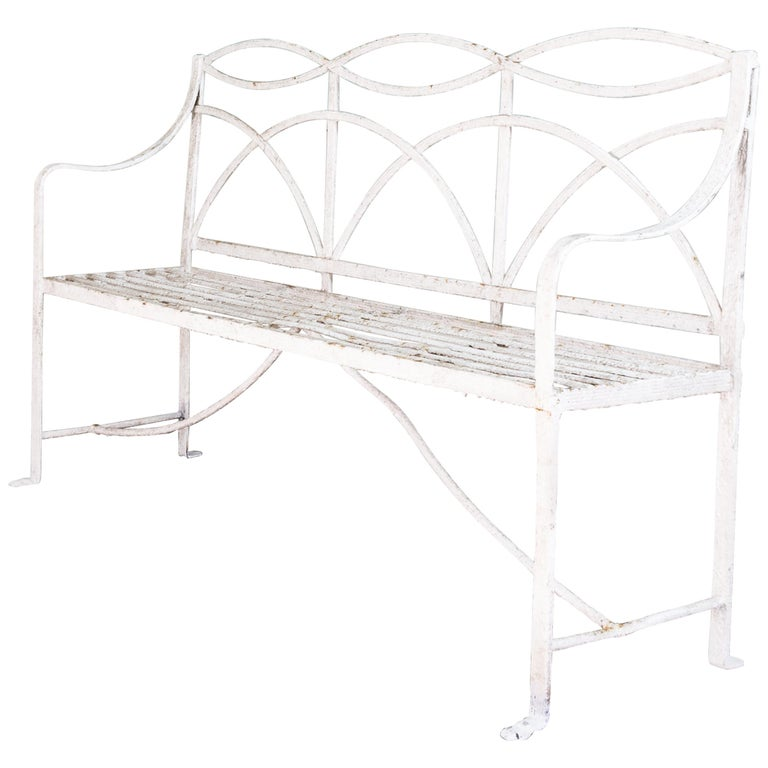 English Regency Period Wrought Iron Bench For Sale