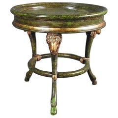 English Regency Rams Head Faux Painted Green and Gold Gilded Occasional Table