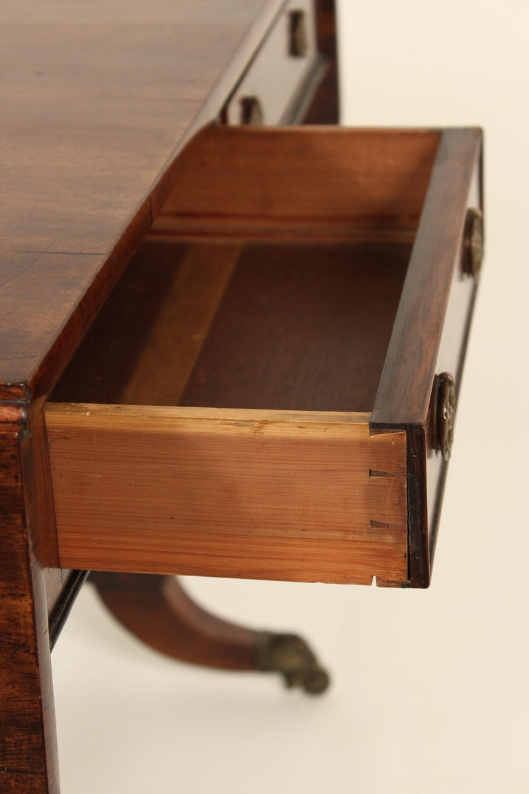 English Regency Rose Wood Sofa Table For Sale 7