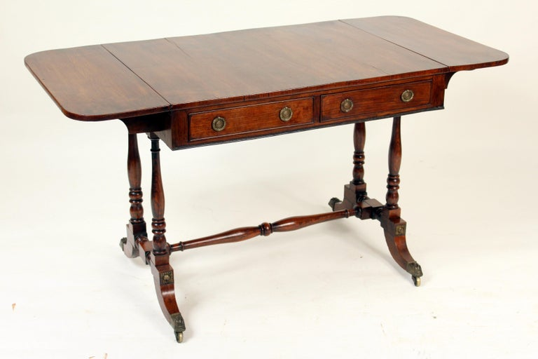 English Regency Rose Wood Sofa Table In Good Condition For Sale In Laguna Beach, CA