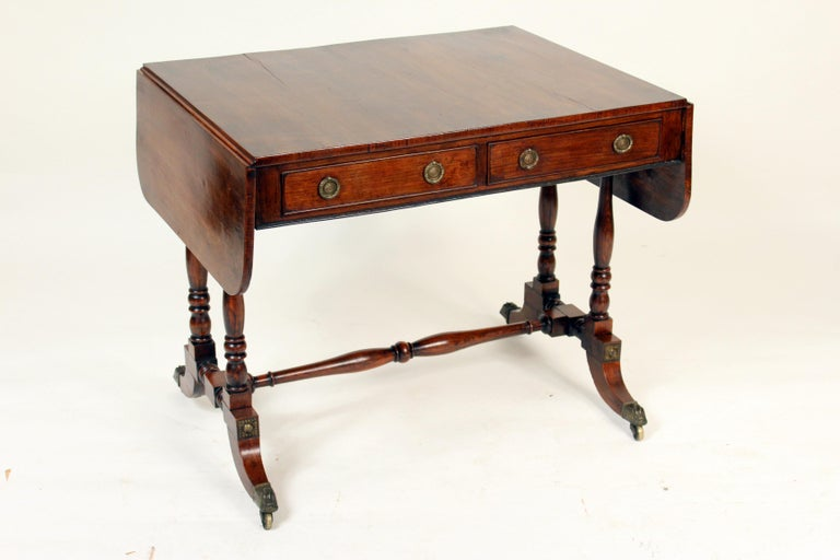 Early 19th Century English Regency Rose Wood Sofa Table For Sale