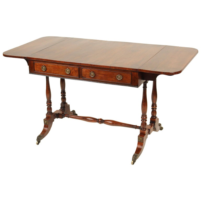 English Regency Rose Wood Sofa Table For Sale