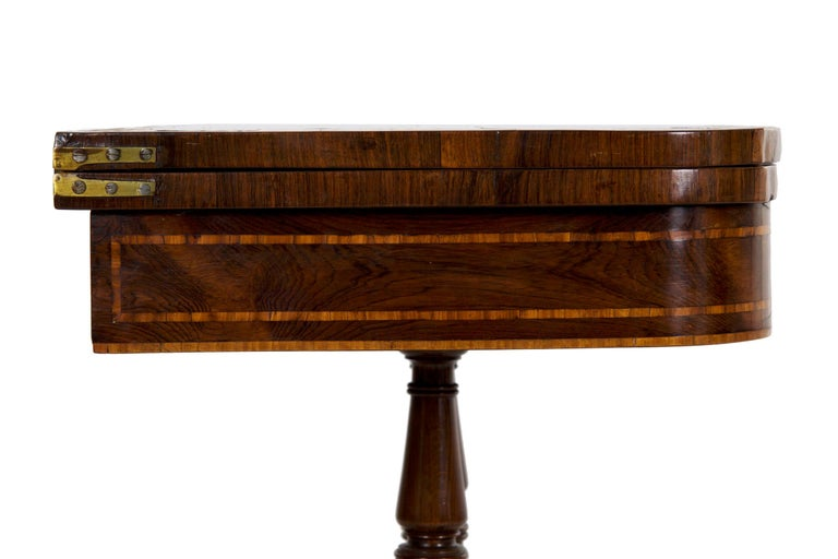 English Regency Rosewood Antique Games Card Table, circa 1815 For Sale 13