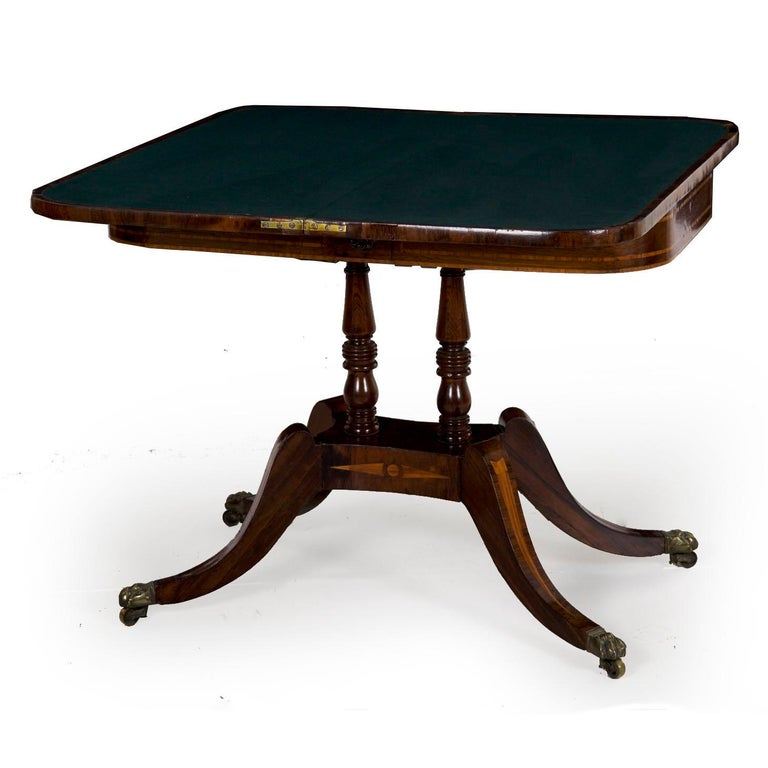 English Regency Rosewood Antique Games Card Table, circa 1815 In Good Condition For Sale In Shippensburg, PA