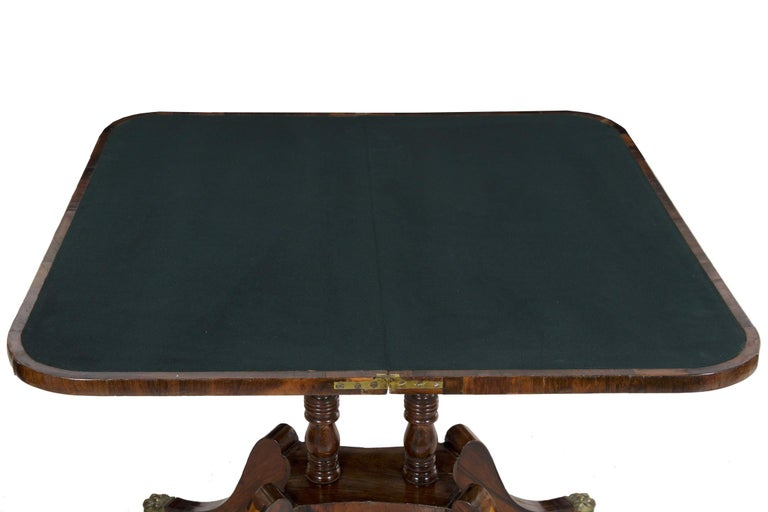19th Century English Regency Rosewood Antique Games Card Table, circa 1815 For Sale