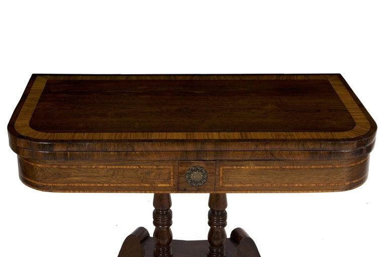 Brass English Regency Rosewood Antique Games Card Table, circa 1815 For Sale