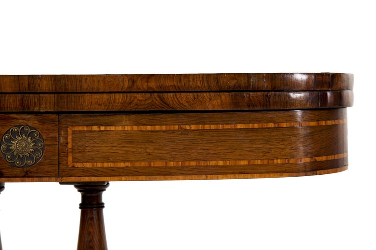 English Regency Rosewood Antique Games Card Table, circa 1815 For Sale 1