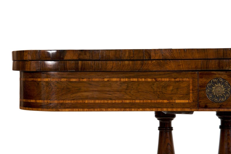 English Regency Rosewood Antique Games Card Table, circa 1815 For Sale 2