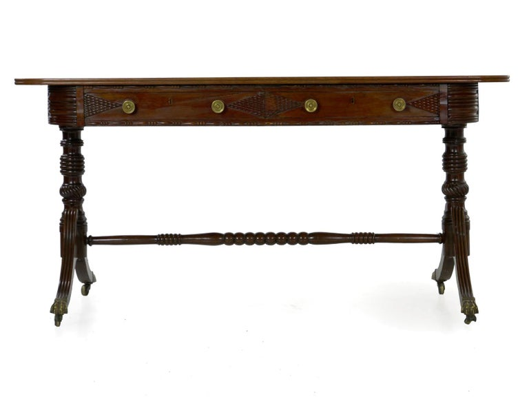 English Regency Rosewood Antique Writing Table Desk Console, circa 1820 9