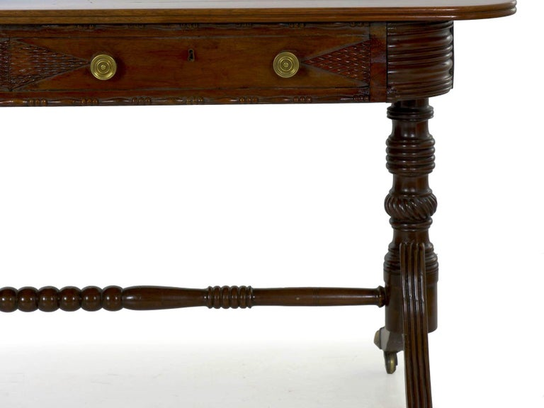 English Regency Rosewood Antique Writing Table Desk Console, circa 1820 10