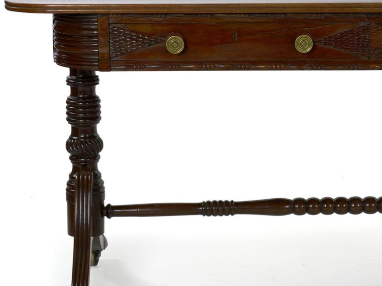 English Regency Rosewood Antique Writing Table Desk Console, circa 1820 11