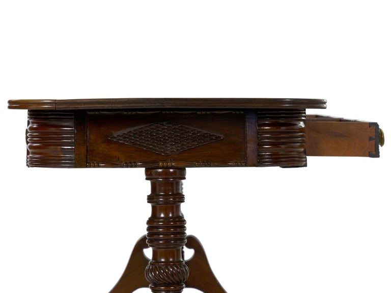 English Regency Rosewood Antique Writing Table Desk Console, circa 1820 13
