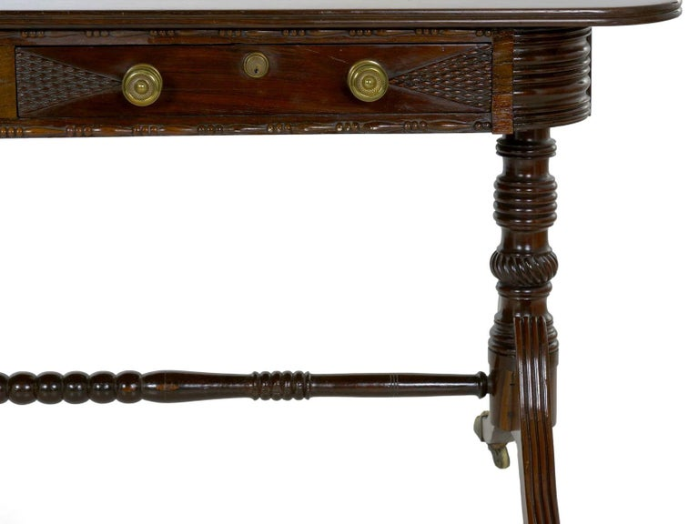 English Regency Rosewood Antique Writing Table Desk Console, circa 1820 In Good Condition In Shippensburg, PA