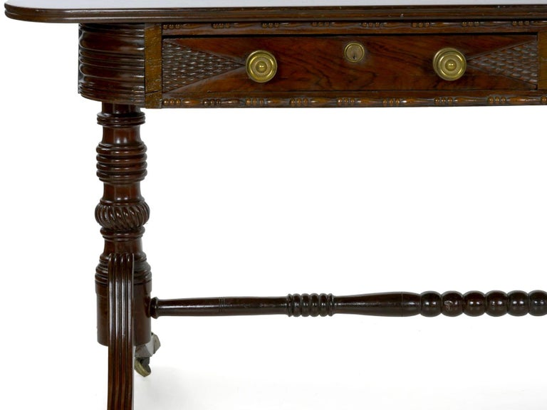 19th Century English Regency Rosewood Antique Writing Table Desk Console, circa 1820