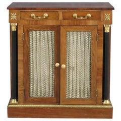 English Regency Rosewood Bronze Mounted Two Door Side Cabinet Buffet Server