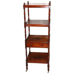 English Regency Rosewood Four-Tier Étagère with Drawer