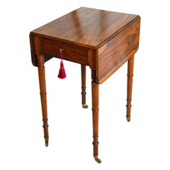 English Regency Rosewood One Drawer Drop-Leaf Side Table Delicate Turned Legs