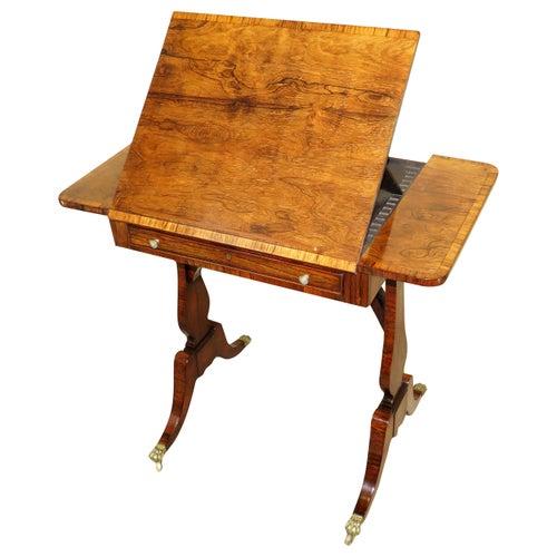English Regency Rosewood Reading Table, 19th Century
