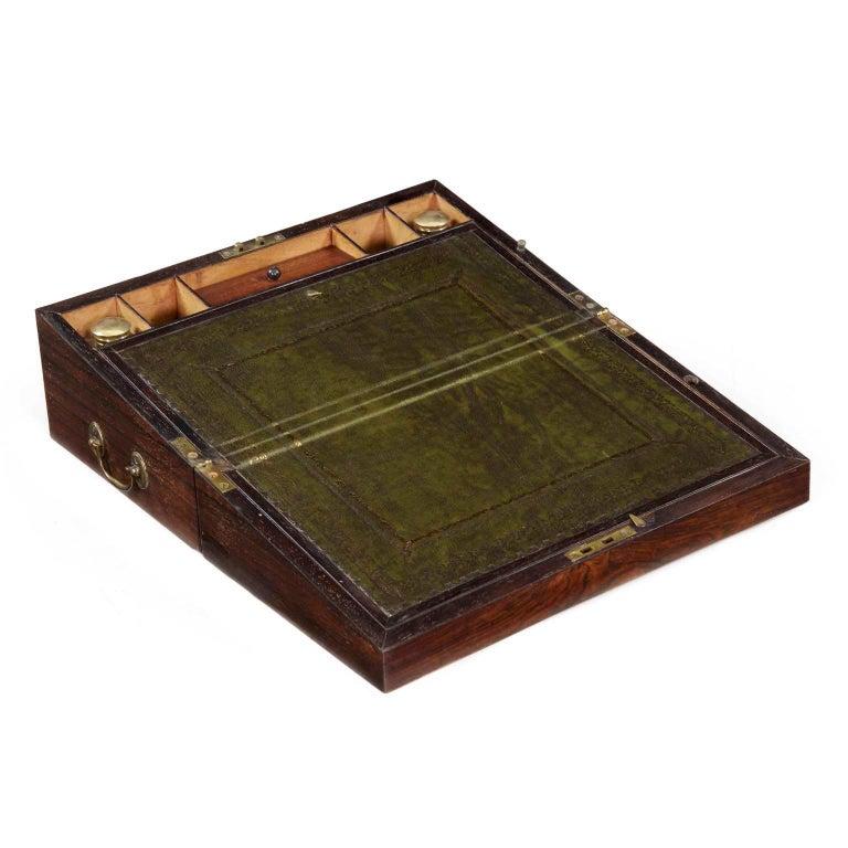 English Regency Rosewood Writing Slope Traveling Lap Desk, circa 1820-1835