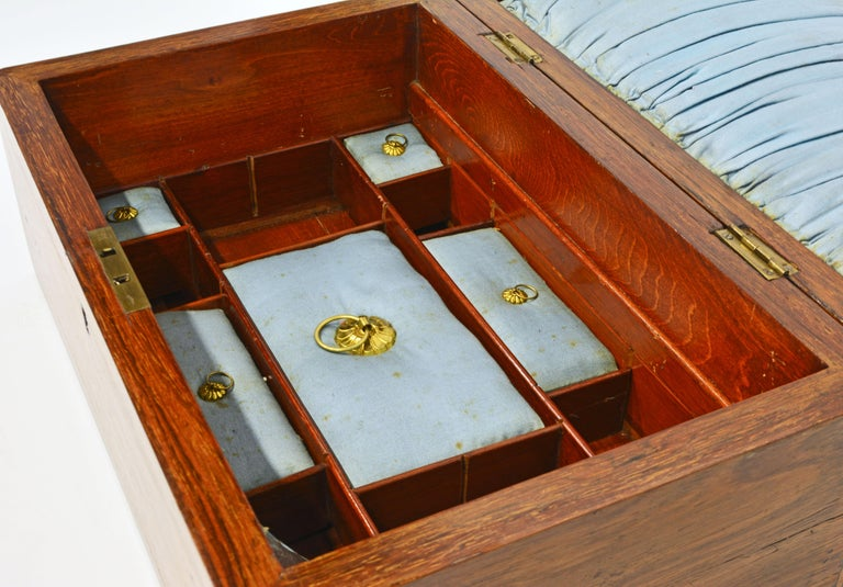English Regency Satinwood and Mahogany Table Box with Fitted Interior Circa 1820 For Sale 5