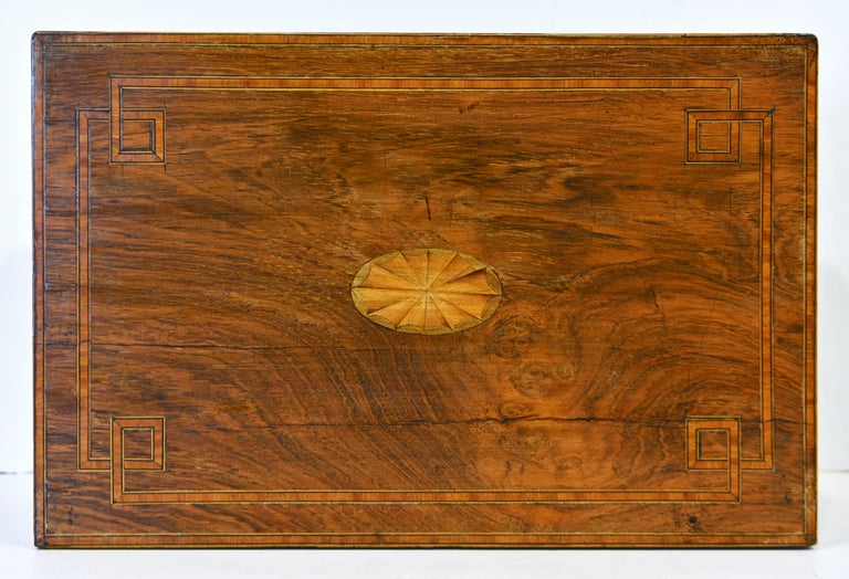 19th Century English Regency Satinwood and Mahogany Table Box with Fitted Interior Circa 1820 For Sale