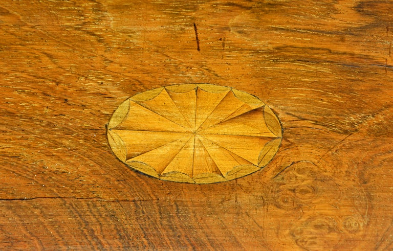 Brass English Regency Satinwood and Mahogany Table Box with Fitted Interior Circa 1820 For Sale