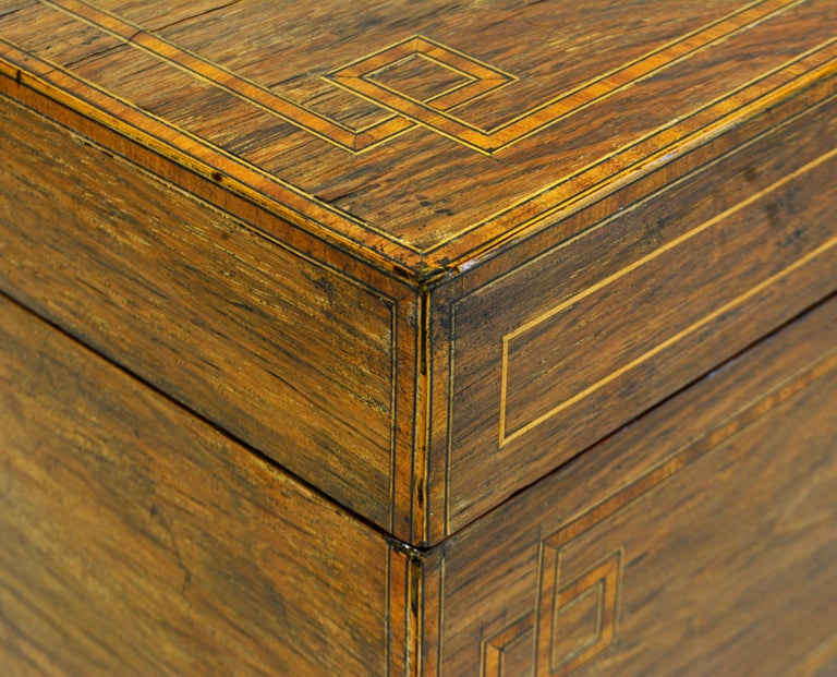 English Regency Satinwood and Mahogany Table Box with Fitted Interior Circa 1820 For Sale 2