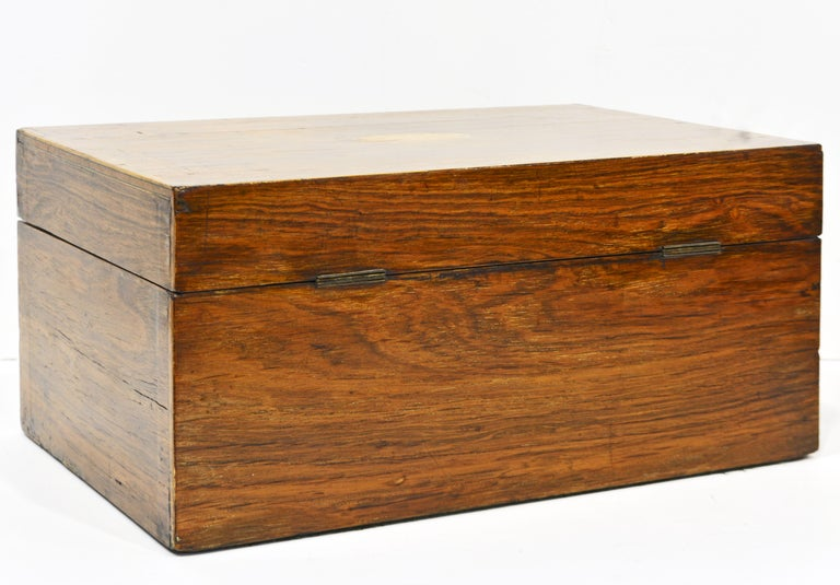 English Regency Satinwood and Mahogany Table Box with Fitted Interior Circa 1820 For Sale 3