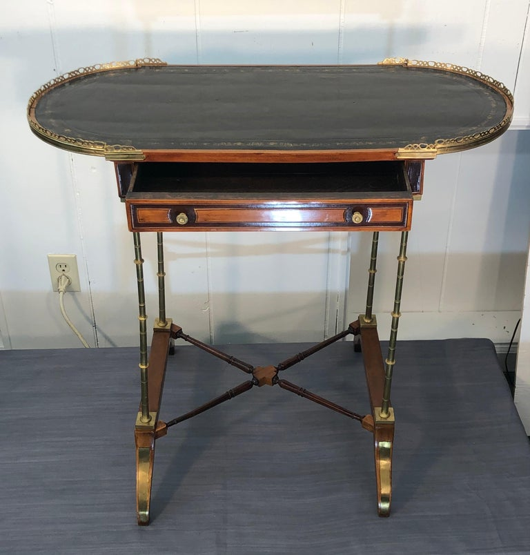 Signed Adam Weisweiler Neoclassical Table With Faux Bamboo Columns, 18th Century For Sale 5