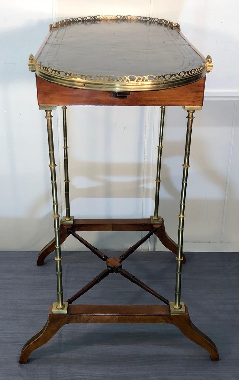 Signed Adam Weisweiler Neoclassical Table With Faux Bamboo Columns, 18th Century For Sale 13