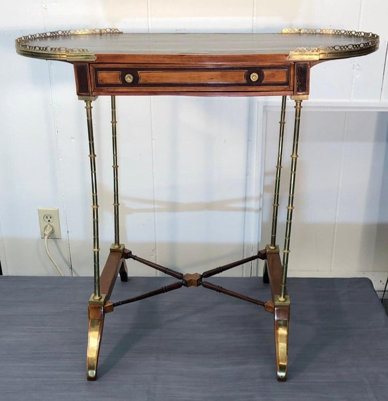 Signed Adam Weisweiler Neoclassical Table With Faux Bamboo Columns, 18th Century For Sale 14
