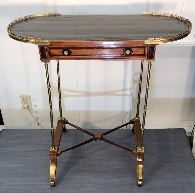 French Signed Adam Weisweiler Neoclassical Table With Faux Bamboo Columns, 18th Century For Sale