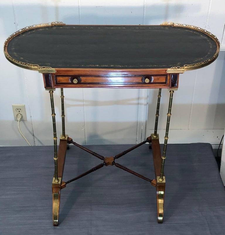 Signed Adam Weisweiler Neoclassical Table With Faux Bamboo Columns, 18th Century In Good Condition For Sale In Charleston, SC