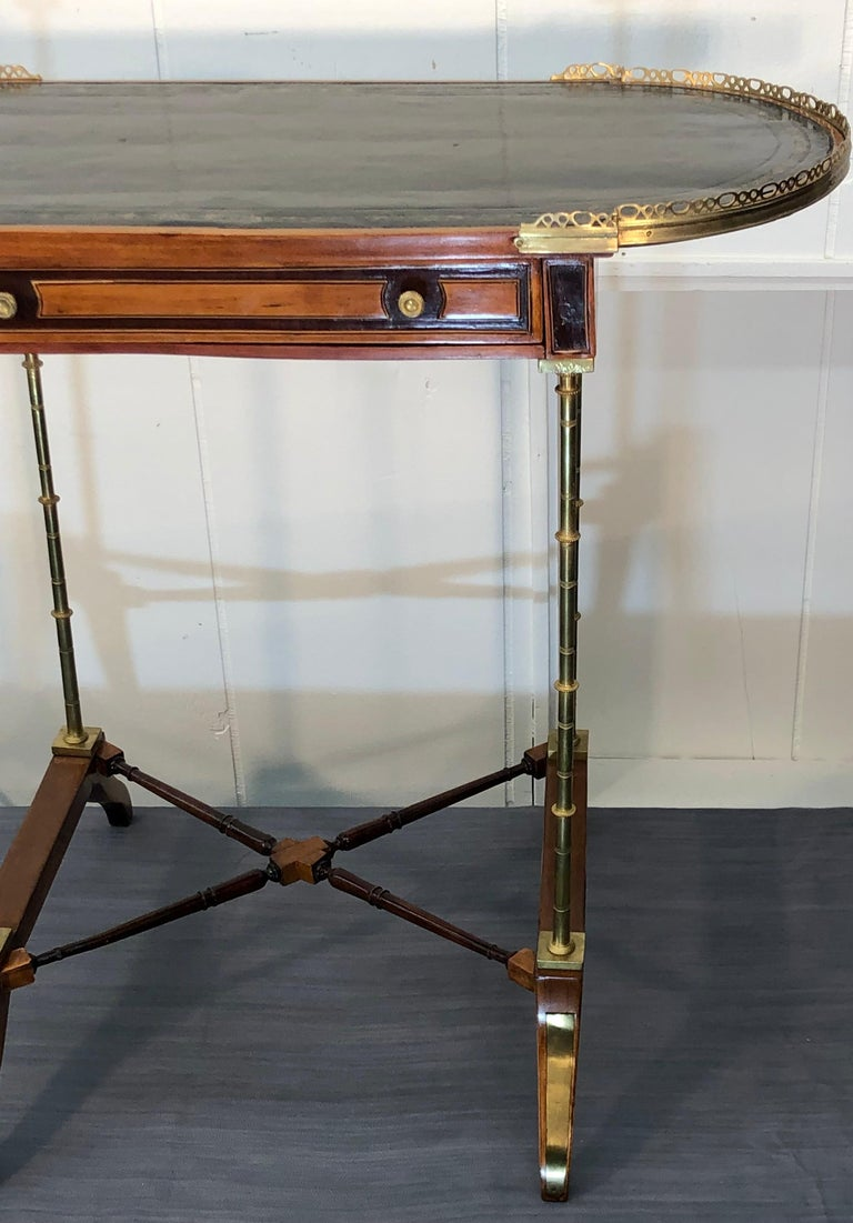 Bronze Signed Adam Weisweiler Neoclassical Table With Faux Bamboo Columns, 18th Century For Sale