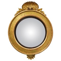 English Regency Shell Carved Convex Mirror